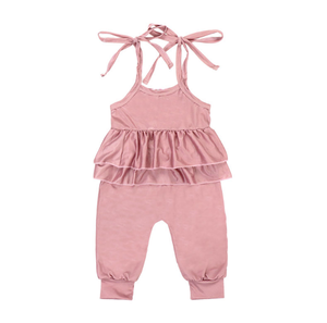 Dusty Rose Ruffle Knotted Jumpsuit