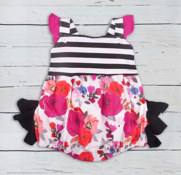 Girls Kate Hot Pink Floral Ruffled Bum Romper