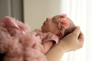 Rosie Dusty Pink Rosset Ruffle Dress for Newborns