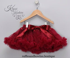 Kryssi Kouture  Burgundy Tutu/Pettiskirt Bloomers - Pettie Coat - Birthday Outfit - Fall Birthday Outfit, Tutu - Ruffles & Bowties Bowtique