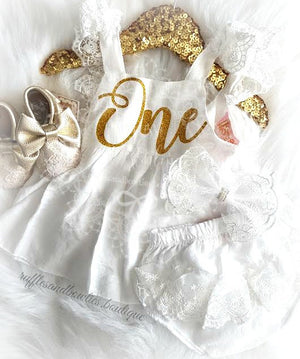 Baby Girls Isabella First Birthday ONE Lace Swing Birthday Dress in White & Gold - gold baby birthday dress - first birthday dress gold - babys birthday dress - summer birthday outfit - first birthday out girls - girls first birthday outfit - girls lace dress - lace baby dress - white lace dress baby