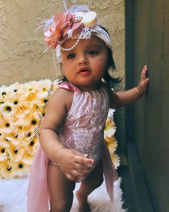 DUSTY ROSE - Kryssi Kouture Exclusive Vintage Rose & Lace Tutu Romper