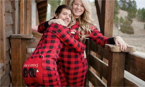 PRE ORDER - Lazy One Youth & Adult Buffalo Plaid BEAR CHEEKS Flapjack Matching Christmas Pj's - Ruffles & Bowties Bowtique - 4