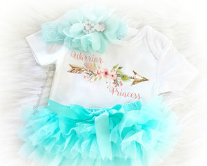 Baby Girl  Aqua & Peach Warrior Princess Boho Baby Onesie - Newborn Onesie