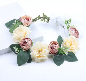 Dusty Rose & Cream one size fits all wedding flower girl crown