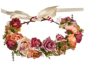 Stunning Dusty Pink & Peach Rose Floral Headwreath - Wedding, Birthday, Flowergirl, Accesories - Ruffles & Bowties Bowtique