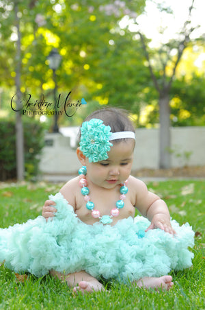 Girls First Birthday Aqua Petti Skirt With Built In Diaper Cover - Ruffles & Bowties Bowtique