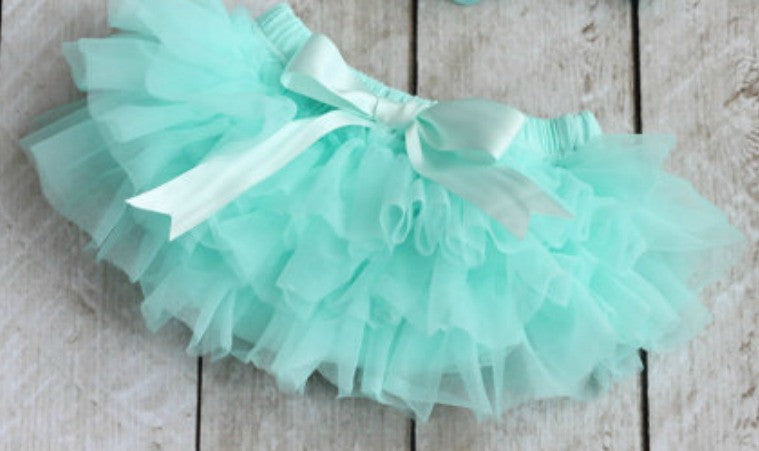 Aqua Mint Ruffled Tulle Tutu with Built in Diaper Cover - Ruffles & Bowties Bowtique