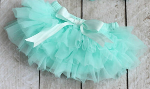 Aqua Mint Ruffled Tulle Tutu with Built in Diaper Cover