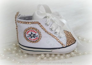 White and Gold Crystal Baby Converse High Tops- Crystal Shoes - Pre Walker Shoes - Baby Girl Shoes - Wedding - Christening - Baptism - Baby,  - Ruffles & Bowties Bowtique