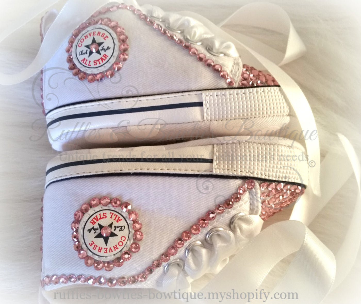 27c00e2d626d ... White and Pink Crystal Baby Converse High Tops - Crystal Shoes - Pre  Walker Shoes ...