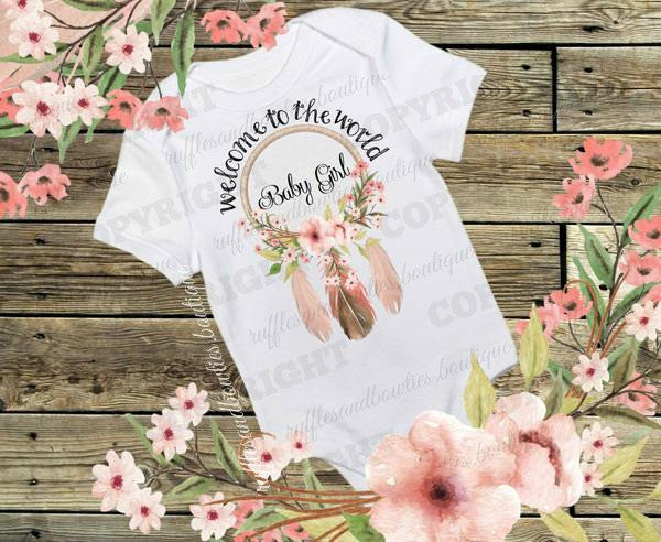 655ffbd3f50d8 Welcome to the World Baby Girl-Bohemian Baby- Newborn Shirt - Hospital  Outfit - Coming Home Outfit - Native Shirt - Boho Baby - Boho Onesie