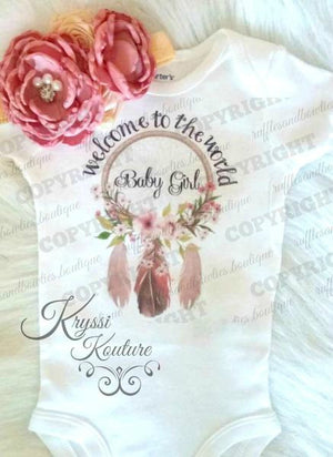 Welcome to the World Baby Girl-Bohemian Baby- Newborn Shirt - Hospital Outfit - Coming Home Outfit - Native Shirt -  Boho Baby - Boho Onesie