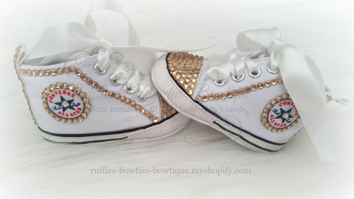 92902bde4cc9 ... White and Gold Crystal Baby Converse High Tops- Crystal Shoes - Pre  Walker Shoes ...
