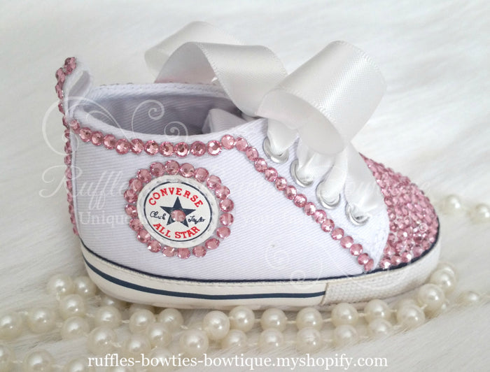White and Pink Crystal Baby Converse High Tops - Crystal Shoes - Pre Walker Shoes - Baby Girl Shoes - Wedding - Christening - Baptism- Baby
