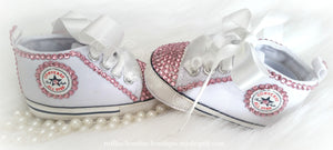 White and Pink Crystal Baby Converse High Tops - Crystal Shoes - Pre Walker Shoes - Baby Girl Shoes - Wedding - Christening - Baptism- Baby,  - Ruffles & Bowties Bowtique