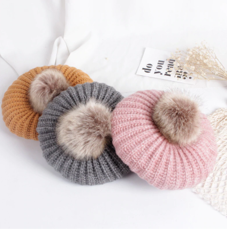 Girls Knit Beret with Faux Fur Pom
