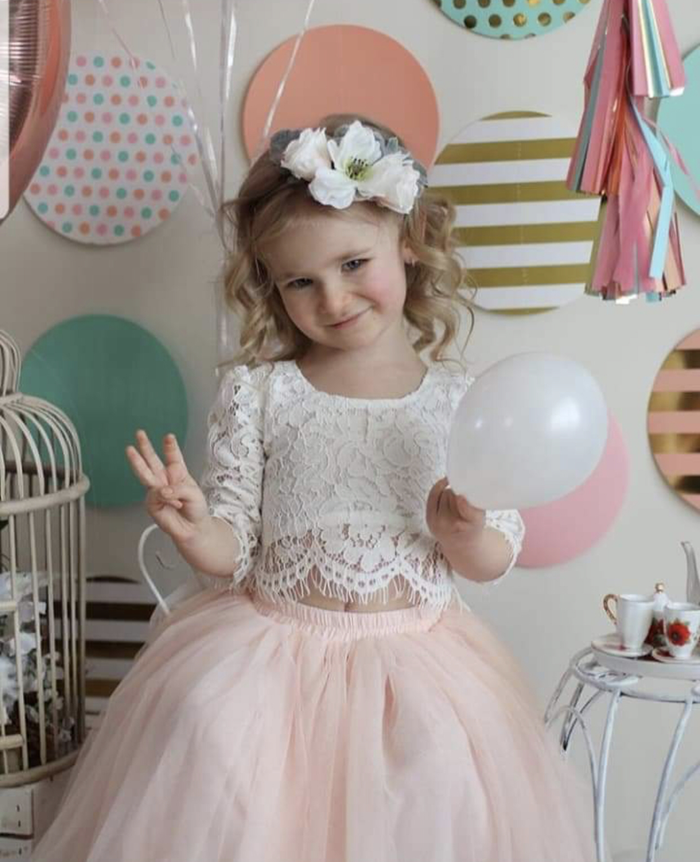Sarah Lee Lace Top and Tulle Skirt Flower Girl Set