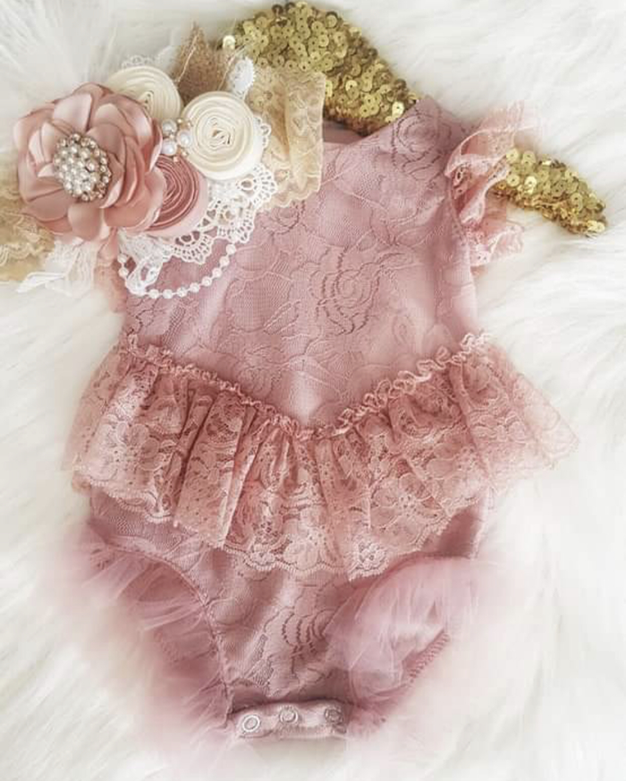 RE STOCKING SOON - Kryssi Kouture Exclusive Girls Paris Dusty Rose Lace Ruffle Romper