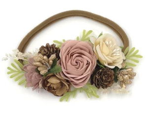 Girls Acorn Mauve Floral Nylon Headband