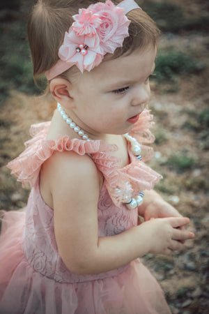 Kryssi Kouture Romantic Everly Lace Dusty Rose Tutu Romper