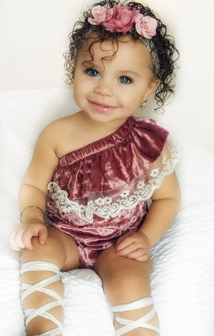 "Kryssi Kouture Exclusive ""Isn't She Lovely"" ® Baby Girls Dusty Rose Velvet and Lace Off the Shoulder Bodysuit Romper"