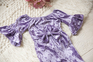 Farrah Purple Velvet Bell Bottom Bow Jumpsuit