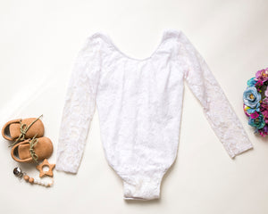Girls White Lace Leo