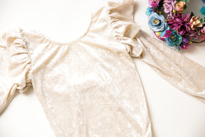 Girls Champagne Velvet Long Sleeve Leo