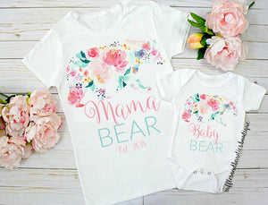 Pastel Floral MAMA & BABY BEAR Mother Daughter Twinning Onesie/Shirt
