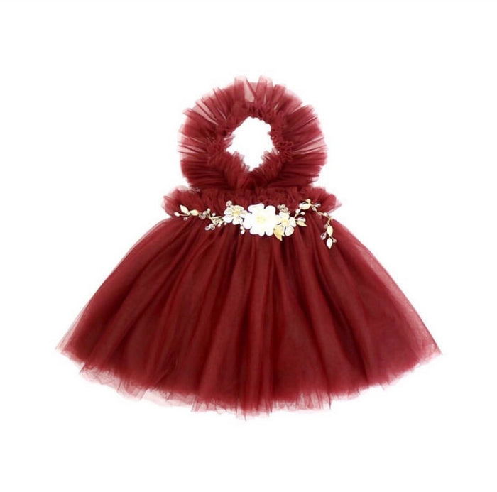 NEWEST EDITION-  Kryssi Kouture Girls Ruffled Tulle Maroon Swan Dress