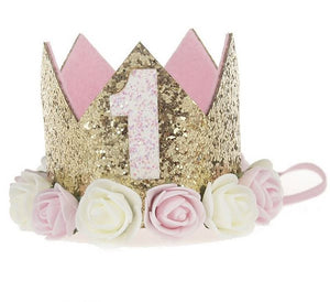 Pink and Gold Glitter First and Second Birthday Floral Princess Crown - One or Two