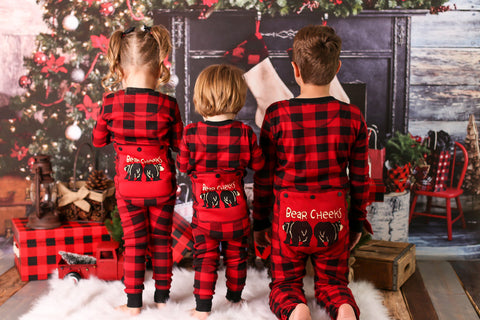 Lazyone Youth & Adult Buffalo Plaid BEAR CHEEKS Flapjack Matching Christmas Pj's