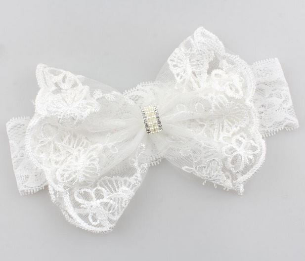 Kryssi Kouture Exclusive Preciously Perfect White Lace Bow Headband