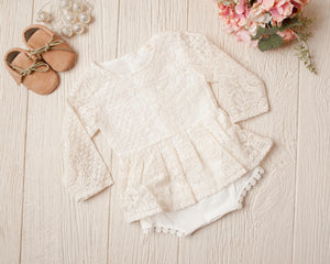 Stacy Lynn Ivory Lace Romper