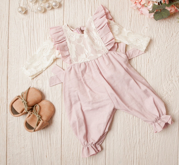 Baby Girls Elizabeth Dusty Pink Linen Jumpsuit With Matching Lined Body Suit - 2 Pc Set