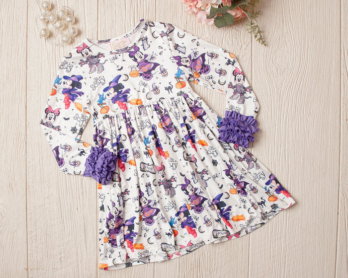 White Halloween Minnie Ruffle Sleeve Tunic/Dress