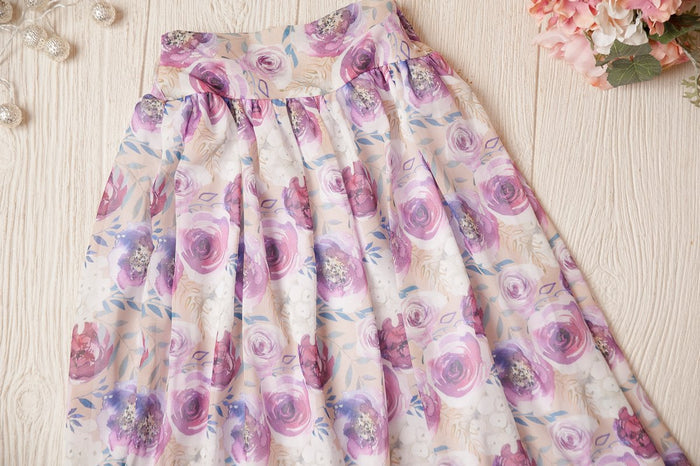 Rose Bloom Chiffon Skirt with Matching Velvet Body Suit
