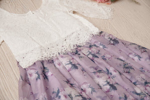 Annabelle Lace Top & Floral Maxi Skirt
