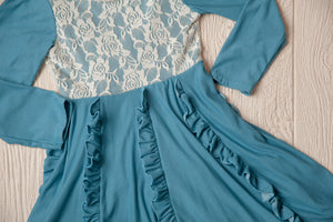 Edith Country Blue Lace & Ruffle Dress