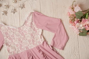 Edith Dusty Pink Lace & Ruffle Dress