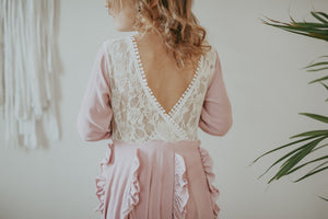 Girls Dusty Rose and Lace V Back Dress Kryssi Kouture
