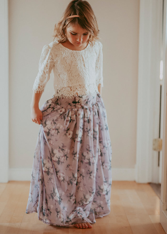 Romantic Floral Lace Top & Floral Maxi Skirt