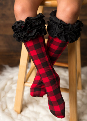 Buffalo Plaid Ruffle Knee Highs
