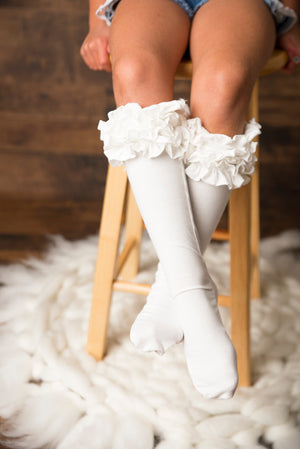 Ivory Ruffle Knee Highs