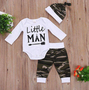 Little Man 3 Pc Camo Baby Boys Set - Boys Baby Camo Set - Shower Gift - Coming Home Outfit - Boys Camo Shirt Pants & Hat Set