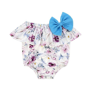 Girls Plum Floral Bow Romper