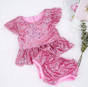 NEW - Marilyn Sweet Icing Pink Sequin 2 Pc Birthday Set