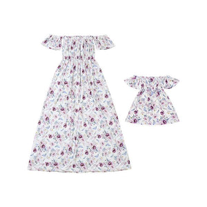 Mommy & Me Plum Rose Off Shoulder Maxi Dress