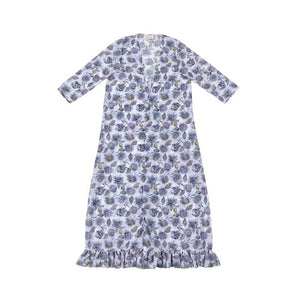 Ladies Country Blue Floral Chiffon Maxi Duster